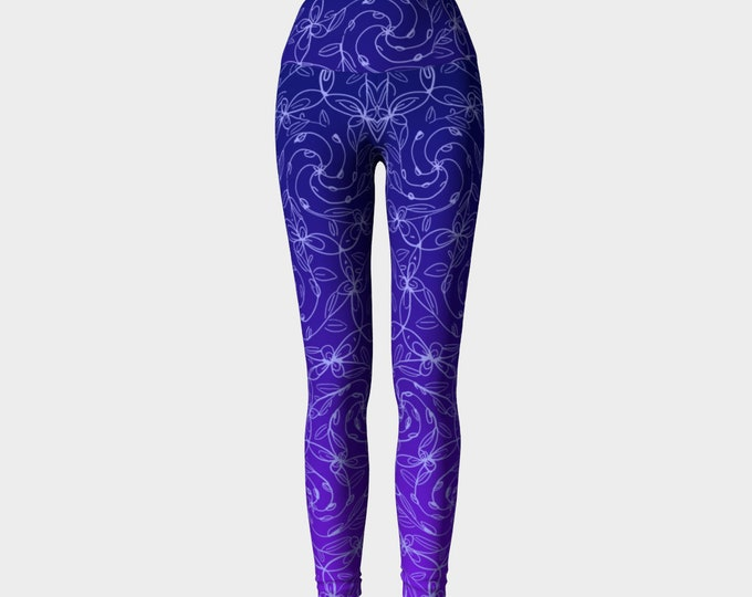 Spiral Vines, Blue and Purple Ombre, Yoga Pants, Flowers, Boho Chic, Celtic Spiral, from Original Art by Laura Cesari and Jeremy Richardson