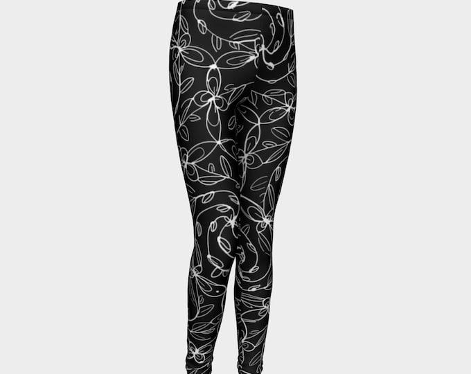 Spiral Vines, Kids Leggings, White and Black, Stretchy, Kids, Goth, Deco, Boho Chic, Celtic Spiral, Floral, Flowers, Lolita, Original Art