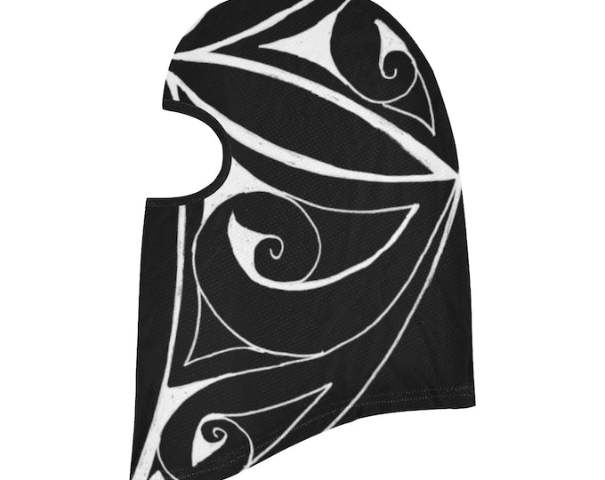 Ninja Leaf 4, Balaclava, Geometric, Face Mask, Black,White, Ninja Mask, Swirl, Leaf, Head Scarf, Face Cover, Scarf, Original Art, Hand Drawn