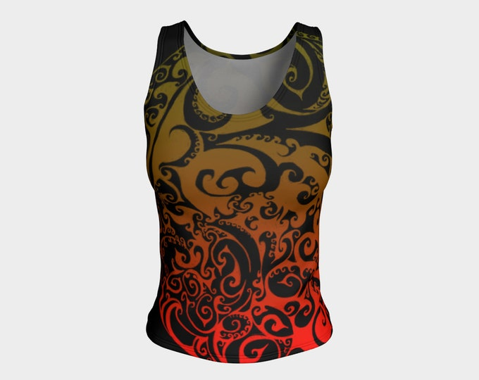 Autumnal Ombre Swirl, Celtic Spiral Ombre Tank Top, Rave, Festival, Workout, Dance, Athletic, Bright Colors, Red, Orange, Flame, Autumn