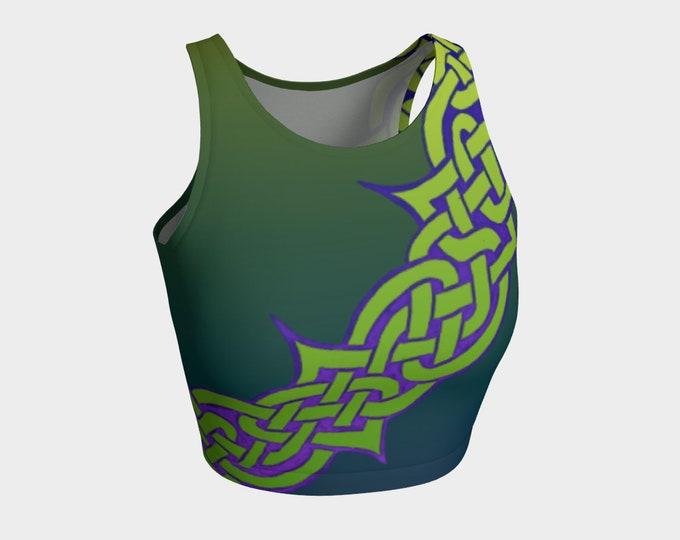 Celtic Briar, Green, Purple, Ombre,Crop Top,Tangled, Celtic Knot, St. Patricks Day, Tank Top, Workout, Irish Dance, Hand Drawn, Original Art