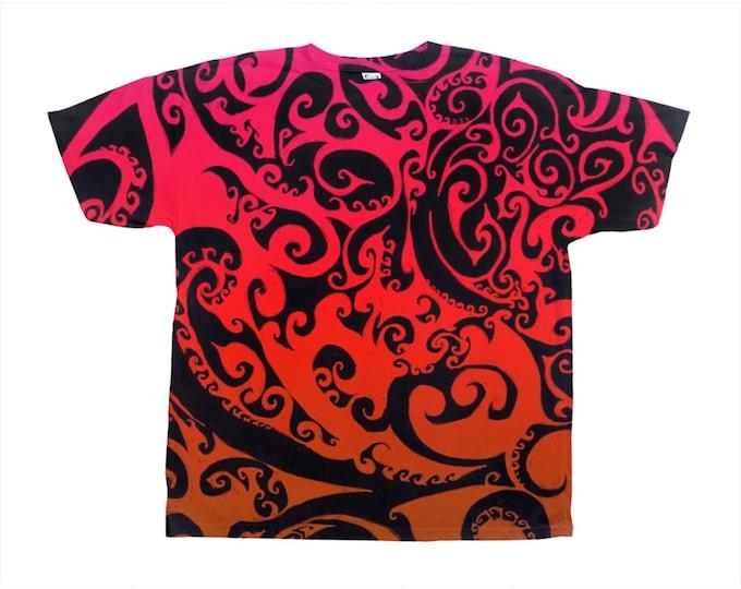 Autumnal Ombre, Celtic Fire Spiral, Tee Shirt, T Shirt, Swirl, Celtic Spiral, Ombre, Red, Orange, Flame, Festival, Original Art, Hand Drawn