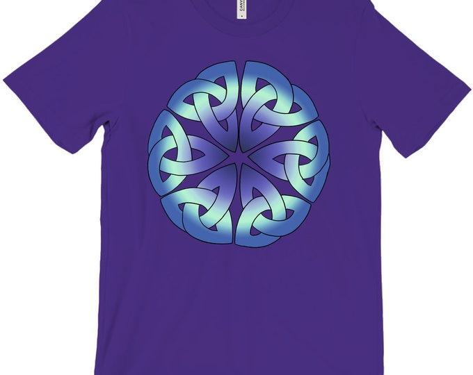 6 Triquetras Tee, Purple, Blue, Black, White, T Shirt, Triquetra, Celtic Knot, Roman, Sicilian, Japanese, Buddhist, Original Art, Hand Drawn
