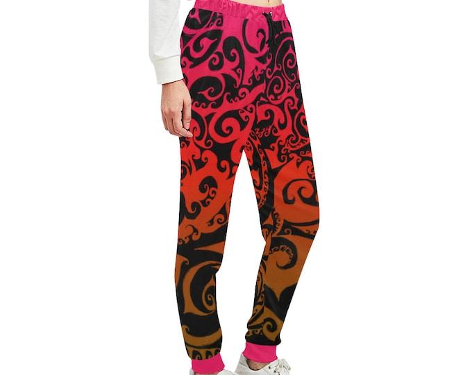Autumnal Ombre, Pocket Pants, Joggers, Swirl, Red, Orange, Loose Fitting Pants, Womens Pants, Designer, Workout, Original Art, Hand Drawn