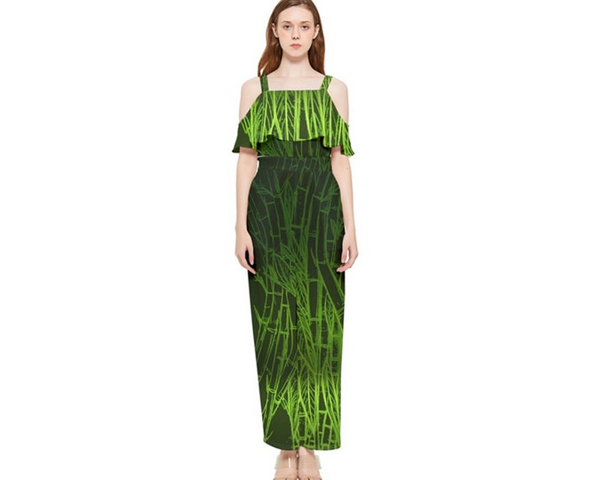Jumpsuit, Green Bamboo, One Piece, Summer, Onesie, Chiffon, Green, Black, Bamboo Print, Pockets, Romper, Ladies, Womens, Art by Caballera