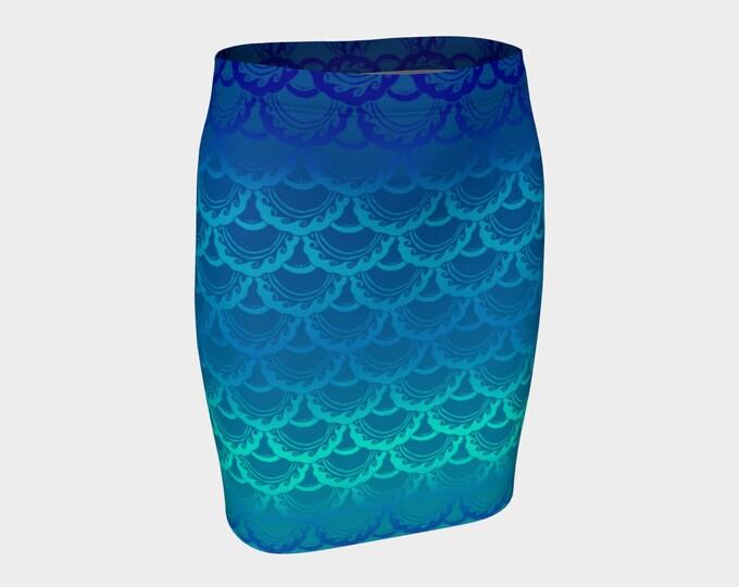 Swirly Mermaid Skirt, Blue, Ombre, Mermaid, Mermaid Scale, Mermaid Skirt, Mini Skirt,Short Skirt,Skirt, Fish Scale, Hand Drawn, Original Art