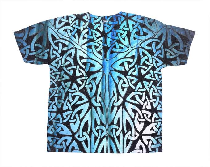 Celtic Labradorite Merman Armor, All-Over Print T-Shirt, Blue Ombre Tee, Tee, Celtic Knot, Celtic Tee, Celtic Art, Hand Drawn, Original Art