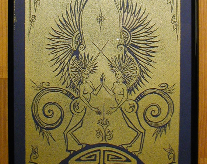 Pegasus, Handmade Print, Gold on Dark Blue - Framed Print - Poster Print - Prussian Blue - Shiny Metallic - Decorative Arts - Printmaking