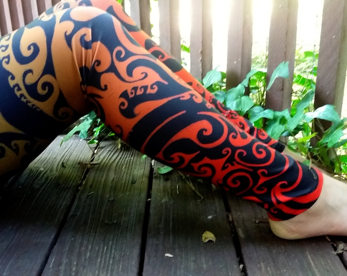 Autumnal Ombre Swirl II, Celtic Spiral Ombre Leggings, Rave, Festival, Workout, Dance, Athletic, Matching Top, Red, Orange, Flame, Symmetry
