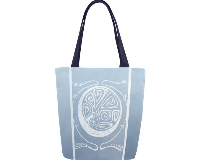 Woman in the Moon, Book Bag, Silvery Blue, Celestial, Mythical Character, Canvas, Art Tote, Fabulous Wallflowers, Original Art, Block Print