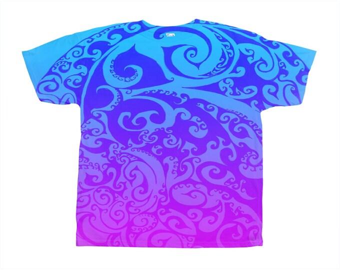 Katara's Favorite II, Designer Tee, Ombre, Swirl, Boho, Purple, Blue,Wild Print, T Shirt,Graphic Tee, Art Tee, Hand Drawn, Original Drawing