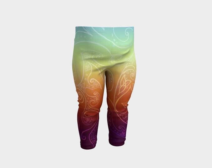 Rainbow Blueprint, Baby Leggings, Triple Fire Flower, Hand Drawn, Celtic Spiral, Baby Size, Festival, Boho, Rainbow, Pants, Original Art