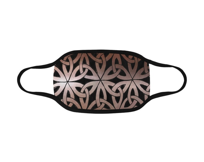 Buy One /Donate One!, Celtic Copper Chainmail, Face Mask,Elastic Ear Loops,Filter Pocket,Washable,Celtic Knot,Copper,Original Art,Hand Drawn
