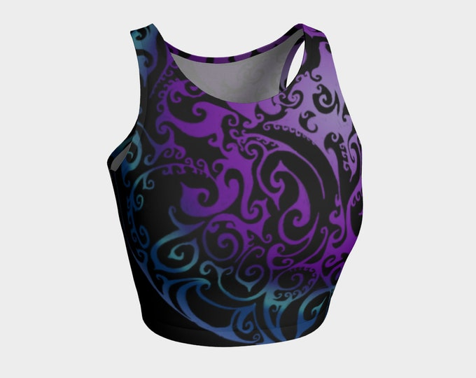 Ice Valkyrie Workout Top, Celtic Spiral, Swirl, Ombre, Purple Ombre, Blue Ombre, Yoga, Swimsuit, Crop Top,Swim Top, Original Art, Hand Drawn