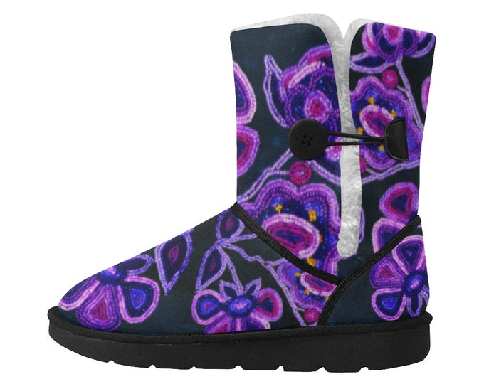 Wild Beaded Flower Snow Boots, Purple, Blue, Galaxy, Bead Embroidery Print, Athabaskan, Faux Bead, Beads, Magenta, Boot, Original Beadwork