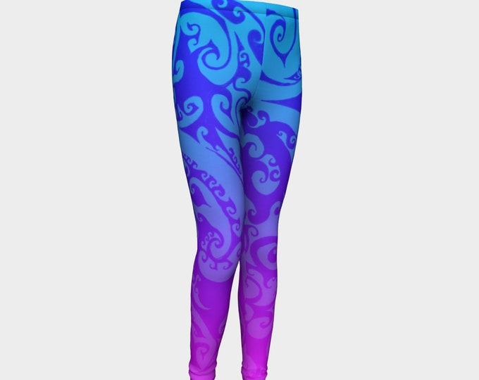 Katara's Favorite, Kids Leggings, Pink Purple Blue Ombre, Swirl, Celtic Spiral, Festival, Kids Size, Pants, Leggings, Tights, Original Art