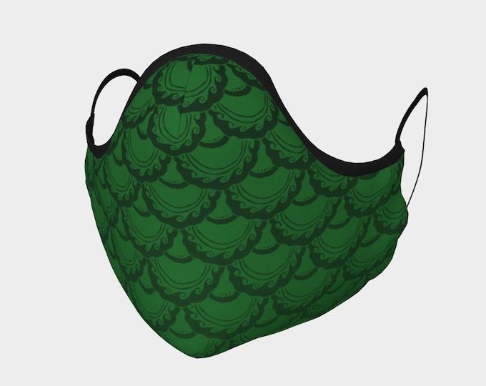 Swirly Mermaid Mask, Green, Black, Cotton Mask, 100% Cotton, Metal Nose Piece, Mermaid, Mermaid Mask, Fish Scale, Hand Drawn, Original Art