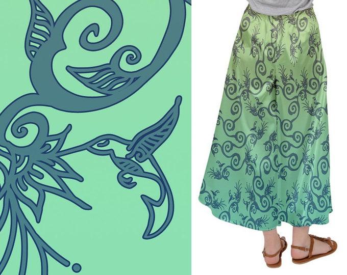 Palazzo Pants, Hummingbird Ombre, Green, Beige, Flowers, Bird, Wide Leg Pants, Satin Pants, Baggy Pants, Floral, Hand Drawn, Original Art
