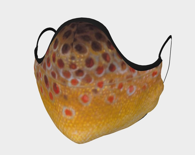 Brown Trout Pout Tres, Cotton Mask, Buy One /Donate One!, Nose Bridge, Fish, Fish Scale, Fishing, Fishin,Nature, Fish Mask, Face Mask,Pocket
