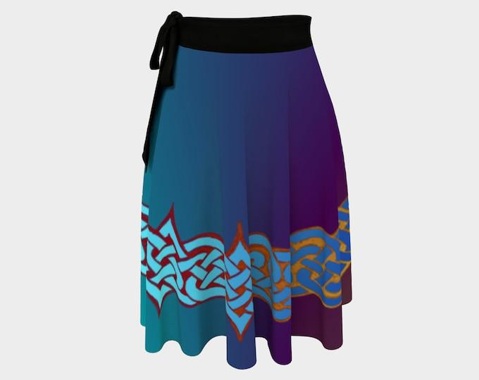 Celtic Briar, Orchid Ombre, Wrap Skirt, Purple,Blue, Plus Size, Celtic Knot, Skirt, Wrap Around Skirt, Irish Dance, Hand Drawn, Original Art