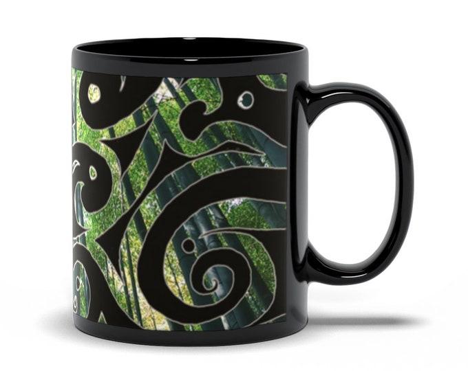 Kaguya, Psypaisley, Coffee Mug, Cup, Tea Cup, Black, Green, Bamboo, Forest, Swirl, Psychedelic, Paisley, Art Mug, Original Art, Hand Drawn