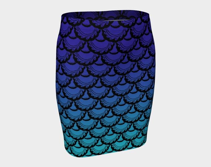 Swirly Mermaid Skirt, Blue, Purple, Ombre, Mermaid, Mermaid Scale, Mermaid Skirt, Mini Skirt,Art,Skirt, Fish Scale, Hand Drawn, Original Art