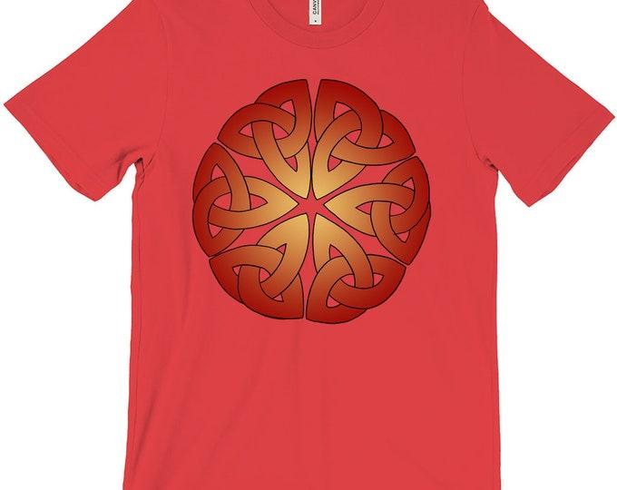 6 Triquetras Tee, Fire Ombre, Red, Orange, T Shirt, Triquetra, Celtic Knot, Roman, Sicilian, Japanese, Buddhist, Original Art, Hand Drawn