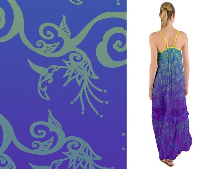Hummingbird Ombre, Purple, Blue, Boho, Maxi Dress, Sundress,Bird,Summer,Flower, Floral, Ruffle,Spring,Baggy, Twirl, Hand Drawn, Original Art