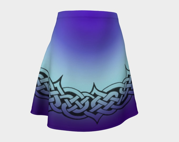 Celtic Briar, Purple, Blue, Ombre, Flare, Skirt, Tangled, Celtic Knot, Celtic Skirt, Above Knee Skirt, Irish Dance, Hand Drawn, Original Art