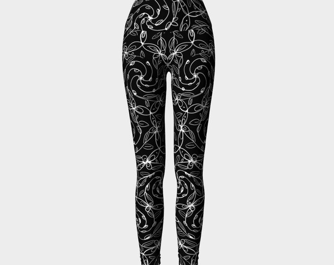 Spiral Vines, Yoga Pants, White and Black, Stretchy, Gothic, Goth, Deco, Boho Chic, Sexy, Celtic Spiral, Floral, Flowers, Lolita, Leggings