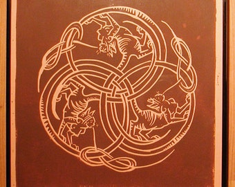 Sphinx in Dark Red Ink on Caramel Paper - Framed Art - Chimerical Wallflowers - Red Sphinx - Cat Woman - Decorative Arts - Printmaking