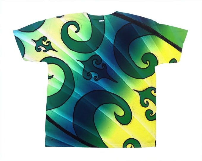 Green Tiki Surf Tee, Original Art, Designer Tee, Wild Print, T Shirt,Graphic Tee, Art Tee, Hand Drawn, Original Drawing