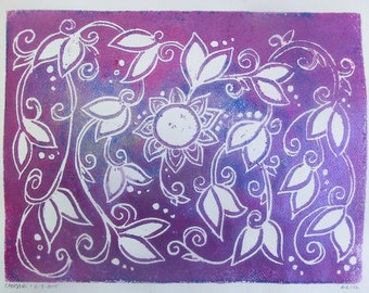 Hand-Printed Family Tree - Block Print - 5 Generations - Metallic Pink and Blue - Decorative Floral - Unframed - Mother's Day Gift
