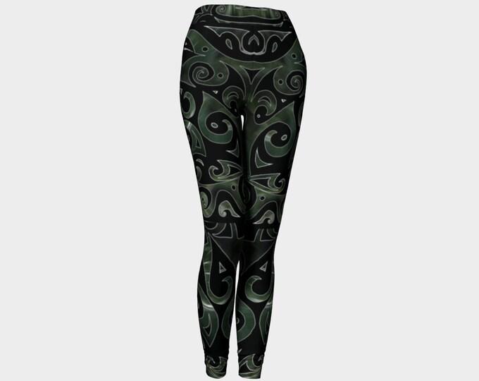 Nephrite Jade II, PsyPaisley, Leggings, Black, Green, Swirl, Jade, Festival, Rave, Psychedelic, Paisley, Art Tights, Art Pants, Original Art