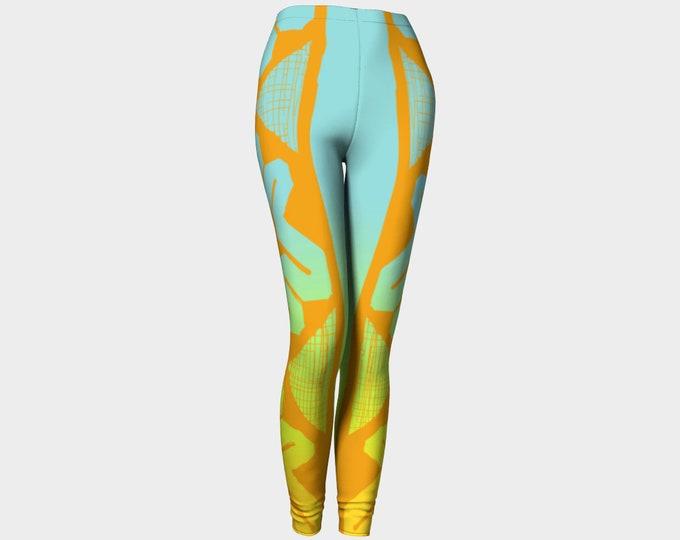 Sunset Boulevard II, Summer Ombre, Celtic Keywork Sketch, Summer Colors, Yellow, Orange, Turquoise, Blue, Workout, Leggings, Original Art