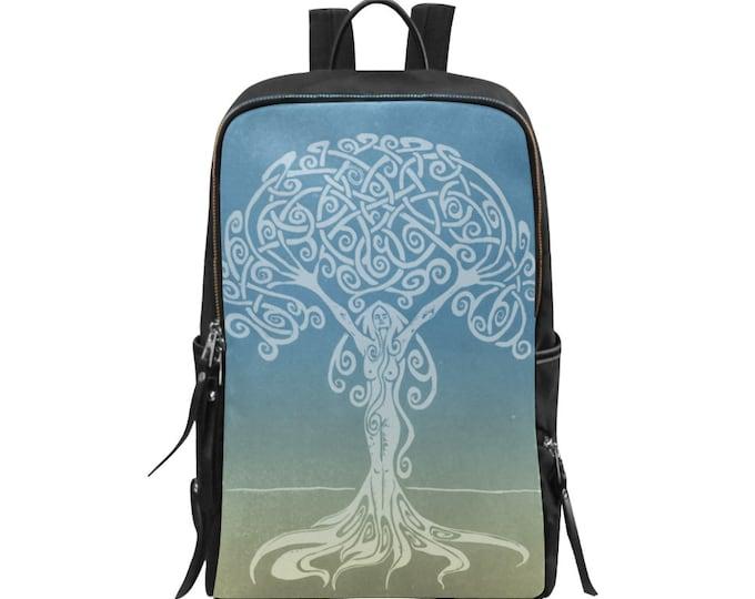 Sunrise Dryad, Tree  Woman, Lady Backpack, Blue, Gold, Swirl, Girl Power, Pockets, Zipper, Fabulous Wallflowers, Original Art, Block Print