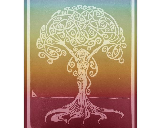 Sunrise Dryad, Note Card, 5pk or 10pk, Rainbow, Tree, Goddess, Woman,Goddess Card,Girl Power,Greeting Card,Fabulous Wallflowers,Original Art