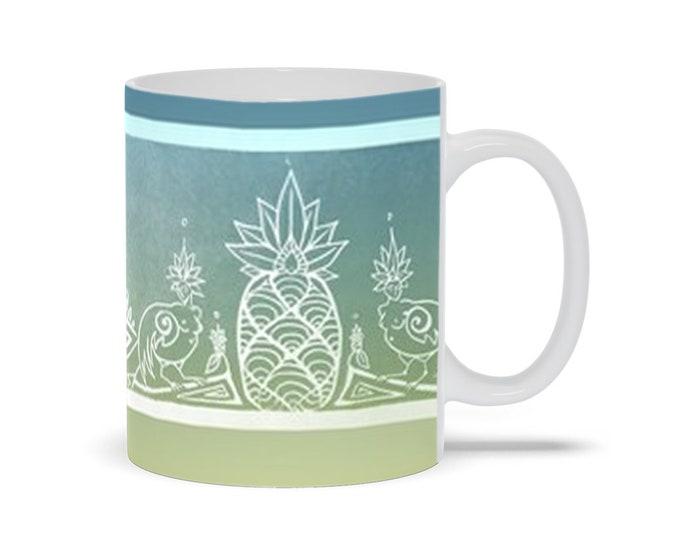 Sirens & Pineapple, Blue, Gold, Coffee Mug, Mythical Character, Art Deco,Tropical,Ombre, Fabulous Wallflowers, Original Art, Laura Cesari