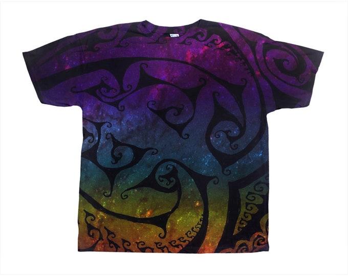 Corazona Tee, Bright Rainbow Galaxy, Original Art, Designer Tee, Wild Print, T Shirt,Graphic Tee, Art Tee, Hand Drawn, Original Drawing