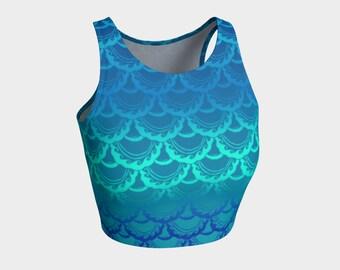 Swirly Mermaid Top, Blue Ombre, Mermaid, Mermaid Scale, Fish Scale, Swim Top, Workout Top, Tank Top, Bikini Top, Hand Drawn, Original Art