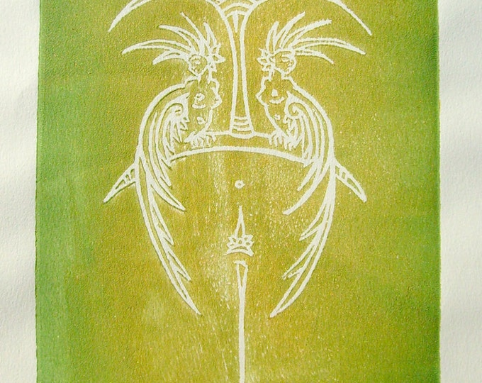 Mythical Sirens & Floating Island - Handmade Block Print - Green and Gold Metallic Ink - Magical Creatures - Unframed