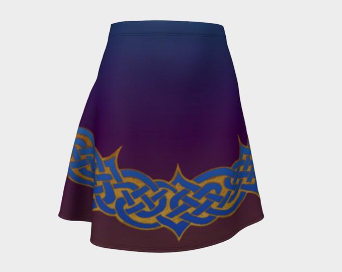 Celtic Briar, Orchid Ombre, Flare Skirt, Purple, Tangled, Celtic Knot, Celtic Skirt, Above Knee Skirt, Irish Dance, Hand Drawn, Original Art