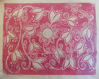 Block Print - Family Tree Poster - 5 Generations - Blank - Handmade Print - Red on Brown Bag - Ancestry Chart - Decorative Floral - Unframed