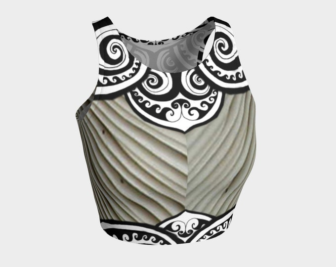 Flower Faerie Mermaid Armor, Crop Top, Fairy, Striped, Steampunk, Festival,Rave, Black White, Swirl, Celtic Spiral, Hand Drawn, Original Art