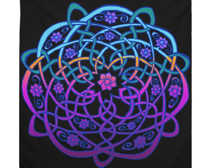 Celtic Flower Tapestry, Blacklight Rainbow Sherbet Ombre, 7 Petal Flower, Celtic Knot Tapestry, Bright Neon Color, Original Art, Hand Drawn