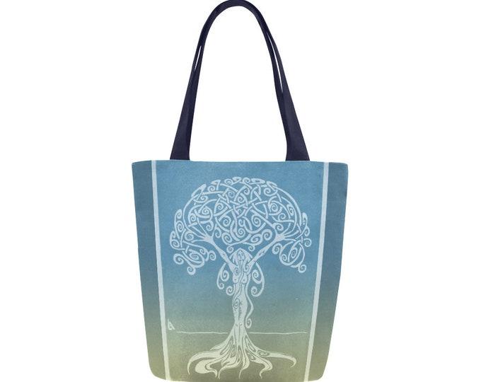 Sunrise Dryad, Book Bag, Blue, Gold, Tree Woman, Canvas Tote Bag, Ombre, Swirl, Girl Power, Fabulous Wallflowers, Original Art, Block Print