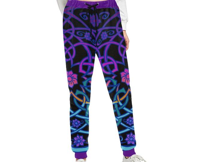 Celtic Flower, Black Light Rainbow, Pocket Pants, Joggers, Loose Fitting Pants, Womens Pants, Designer, Workout, Original Art, Hand Drawn