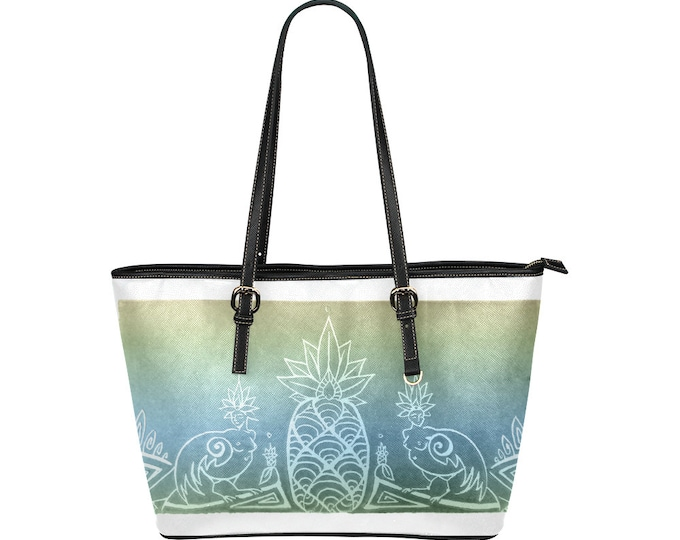 Sirens & Pineapple, Blue Gold Tote Bag, Vegan Leather, Imitation Leather, Tropical, Fantasy, Mythical Characters, Bird Ladies, Original Art