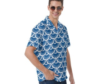 Button-Up Shirt, Fish Scale, Blue, White, Ocean, Mermaid Scales, Hawaiian Shirt, Large Sizes, Button Up Shirt, Hand Drawn, Original Art