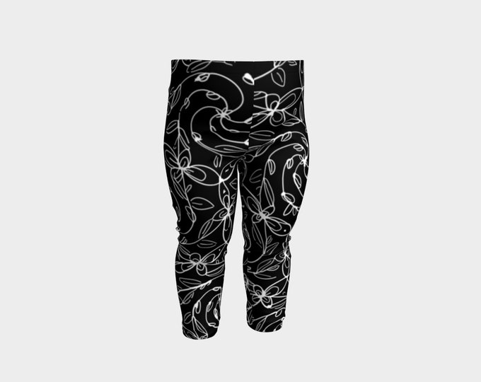 Spiral Vines, Baby Pants, White and Black, Stretchy, Baby Size, Goth, Deco, Boho Chic, Celtic Spiral, Floral, Flowers, Lolita, Original Art